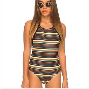 Motel Rocks • Rainbow Striped One Piece Swimsuit